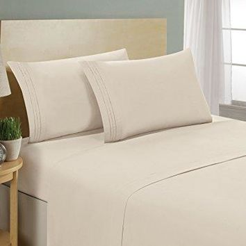 1800 Series Egyptian Collection 3 Line Microfiber 4 Piece Bed Sheet Set (Queen, Cream)