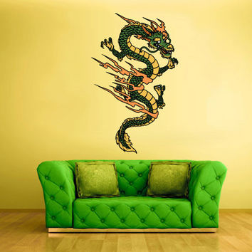 Full Color Wall Decal Mural Sticker Art Asian Japaneese Japan Dragon Ethnic (col202)