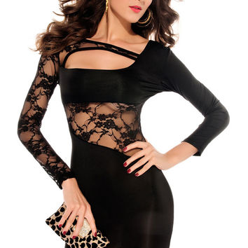 Long Sleeved Black Mini Dress with Floral Lace Inserts