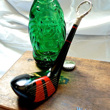 Rustic Bottle Opener Made out of a Black Persimmons Golf Club - Wilson 3 Wood Golf Club - Mickey Wright