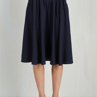 Scholastic Long Full Breathtaking Tiger Lilies Skirt in Navy