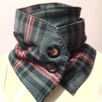 Attractive Plaid Wool Scarf Wrap, Womens Scarf, Mans Scarf, Long Scarf, Handmade Scarf, Button Up Scarf, Dimensionalvision