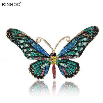 Colorful Cute Butterfly Brooch Mix Color Crystal Rhinestone Brooches for Women Lady Fashion Jewelry Boutonniere