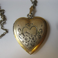 Vintage Gold Heart Etched Floral Double Picture Locket  Pictures