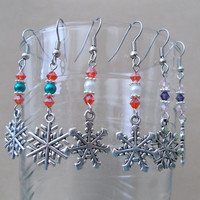 Silver Snowflake, Pearl & Crystal Dangle Earrings Handmade Holiday Festive Playful Winter Ladies Gift Fashion Jewelry Advent Colors