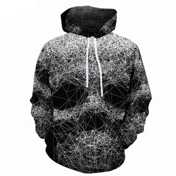 Skull Hoodie Black And White 3d Print Spider Web geometric