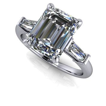 Diamond Baguette Engagement Ring - Emerald Cut SUPERNOVA Three Stone Engagement Ring