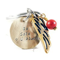 Personalized Brass Disc With Angel Wing Keychain.
