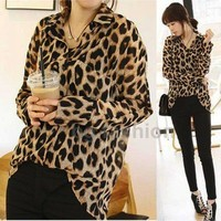 S-XXL Women Leopard Print Top Long Sleeve Shirt Button Down Loose Chiffon Blouse
