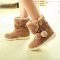 Ball Tassel Snow Boots Winter Fur Inside Shoes Woman
