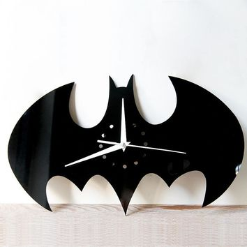 Halloween Stickers Living Room Wall Clock Creative DIY Wall Clock Watch Batman Acrylic Wall Clock Home Decoration Craft