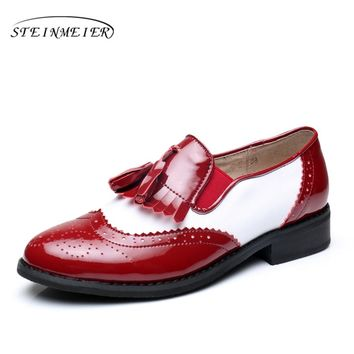 Woemn genuine leather tassel oxford flats vintage Casual shoes round toe handmade red white oxfords shoes for women fur