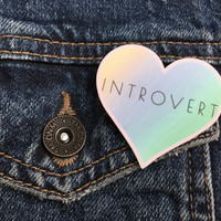 Introvert Pin, Shrink Plastic Pin, Heart Brooch, Pastel Grunge, Alternative, Cute Pins, Pastel Goth Heart