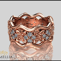 14K Rose Gold Diamond Ring, Butterfly Ring,Diamond Eternity Ring,Unique Ring,Camellia Jewelry,Birdal Jewelry,Nature inspired Ring.