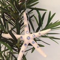 ON SALE Starfish Ornament with Ice Blue Swarovski Crystals - Holiday - Christmas - Weddings - Decor