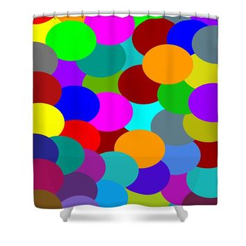 Shower Curtain Oval Design Multi Color