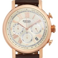 Women's Fossil 'Buchanan' Chronograph Leather Strap Watch, 42mm - Brown/ Rose Gold