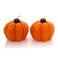 Halloween Pumpkin Candles Set / 2 Decorative Candle