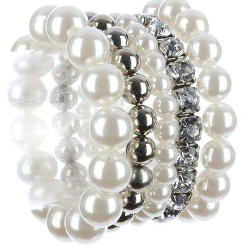 5 piece crystal white faux pearl silver bead stretch bracelet arm candy