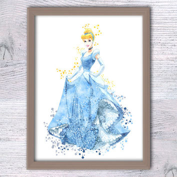 Cinderella Disney Print Princess Watercolor, Cinderella Wall Art, Disney princess  Nursery Decor fairy tale wall art, princess poster  V84