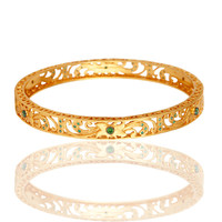 14K Yellow Gold Plated Filigree Bangle / Bracelet With Green Cubic Zirconia