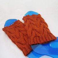 Orange Boot Cuffs, Handknitted  Wool Leg Warmers, Winter Legwear, Stylish Accessories