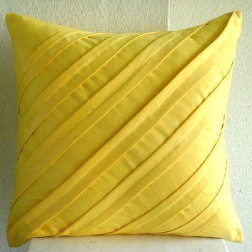 Contemporary Yellow - Euro Sham Covers - 26x26 Inches Suede Euro Sham Cover in Bright Yellow