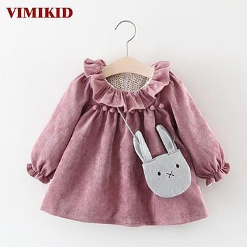 VIMIKID Baby Girls Dresses 2017 New Long Sleeve Lotus Collar O-neck Puff Toddler Dress+Rabbit Pendant 2pcs Children Clothes