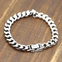 925 Sterling silver mens bracelet Rock fashion chain bracelet men's jewelry gift Thick and exquisite fashion charm bracelet 2018