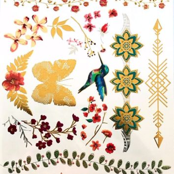 Colorful Metallic Flower/ Butterfly/Bird/Temporary Tattoos