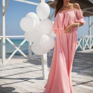 Strapless Off Shoulder Solid Color Maxi Dress