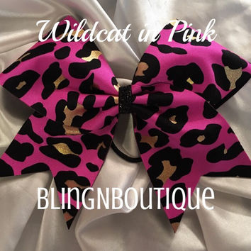 Wild Cat in Pink - Pink Leopard Cheer Bow