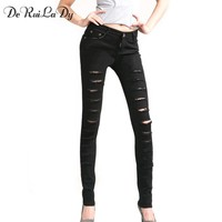 DeRuiLaDy Women Jeans Slimmer Elasticity Pencil Pants Holes Skinny Jeans Woman Black White Ripped Jeans For Women
