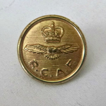 WWII Era RCAF Button Vintage 30's 1940's Brass Royal Canadian Air Force Button Military Historical Pilot Flying Eagle Crown Symbolic History