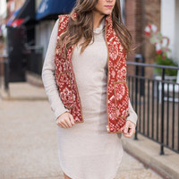 Dare To Damask Vest, Rust