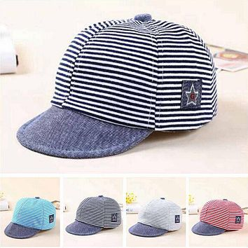 PUDCOCO 2017 Newest Summer Newborn Baby Girl Boy Sun Cap Cotton Beret Hat Striped