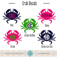 Crab Monogram Sticker or Decal - Vine, Circle - For Laptop, Car, Notebook, Etc.