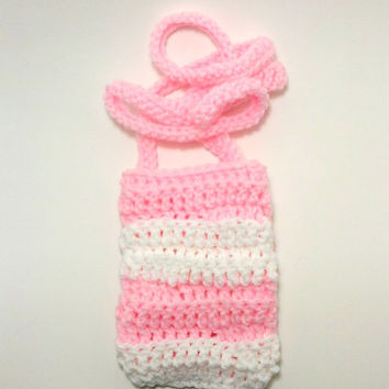 Pink and White Pouch, Phone Pouch , Crochet Pouch , Phone Accessory , small pouch , phone holder, small tote bag