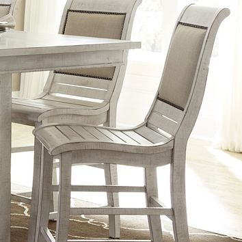 Willow Casual Counter Uph Chair (Set Of 2) Distressed White
