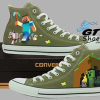 Hand Painted Converse Hi Sneakers. Minecraft Video Game. Handpainted Shoes.