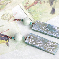 Mint leaf earrings / Green Nature jewelry / Artisan raku ceramic and polymer clay dangle