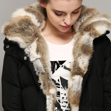 Rabbit hair down jacket in the long section of thick down jacket women Black