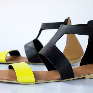 3-Tone Goddess Leather Sandals - Women's Shoes - Any Colors - All Sizes
