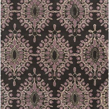 Moderne Medallion and Damasks Area Rug Black, Purple