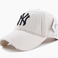 White NY Women Men Embroidery Sport Sunshade Cap Baseball Cap Hat