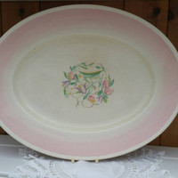 Susie Cooper 1930s large serving dish/ Pink Dresden Spray/ vintage meat dish/English transferware platter