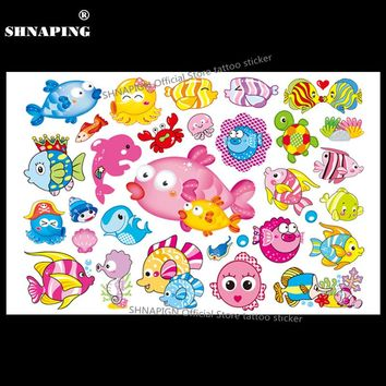 SHNAPIGN Cartoon Fish Child Temporary Body Art Flash Tattoo Sticker 10*17cm Waterproof Henna Fake Tatoo Car Styling Sticker