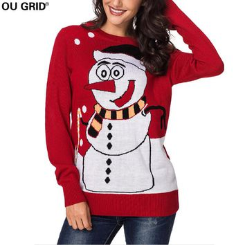 Women's Snowman Knitted Ugly Christmas Sweater Cute Pullover Jumpers