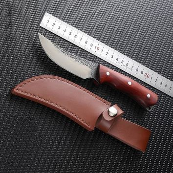 Hand forged Hunting Knife Fixed Blade Leather Sheath