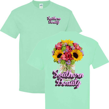 Southern Beauty on a Mint Green T Shirt